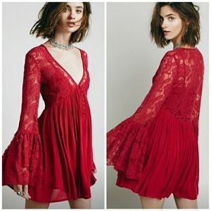 FREE PEOPLE LOVE FROM INDIA RED BOHO MINI DRESS